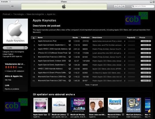 Podcast dei vari keynote Apple gratuiti