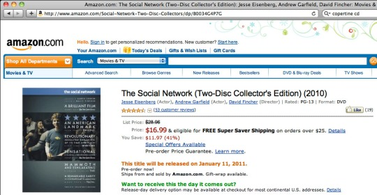 The Social Network dvd